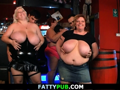 Huge boobs  party in the bar