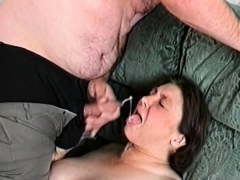 Cum-shot on the granny's mouth
