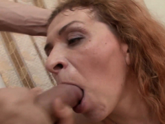 Redheaded mature gets drilled and rewarded with a facial
