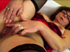 Nerdy old grandmother takes advantage of horny lovers immense hard-on