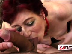 Horny granny Tamara moans loud as she gets her snatch squeezed