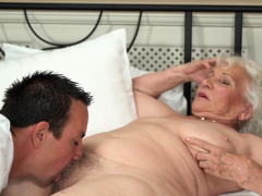 Busty grandmother jizzed over