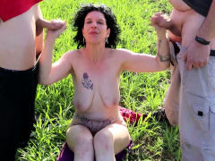 German Naturism Mature Seduce to Fuck by 2 Stranger Public