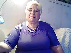 fat grandmother excitng her self and deep-throating her nipples part 1