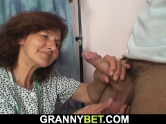 Dressed grannie loves sucking and railing his dick