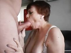 Granny in Stocking Gets Two Fountains of Cum