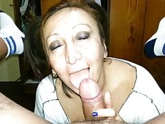 Mature slut deepthroats well