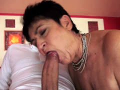 Cock gobbling grandma pussy fucked