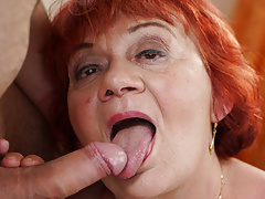 Delivery Guy Gets to Pound Redhead BBW GILF Marsha