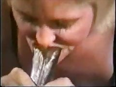 Tothless grandma sucking  and  cum while hubby recor