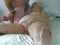 70  old grandma sucks my cock and balls and gulps jism