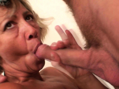 Old cleaning woman takes his insatiable cock from behind
