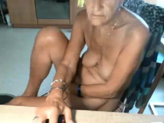 Blonde granny masturbate on the  in livingroom