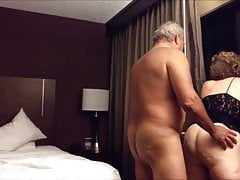 Old ginormous  wife screwed from behind in the hotel