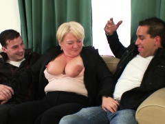 Boozed phat boobies blonde grandma picked up for Double penetration