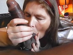Grandma  Blowjob Big Ebony Sausage