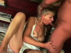 BBC deep jaws by a sizzling old granny with ample tits.