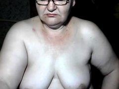 Granny with big boobs masturbating hairy granny pussy