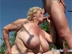 Chubby Granny Blonde Concerning Huge Tits And Her Young Lover Fuck Outdoor