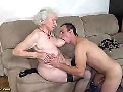 chubby 91 years old hairy granny norma with beamy saggy tits gets rough fucked at the end of one's tether her young beamy cock toyboy