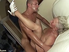 busty hairy 75 time eon old granny mom enjoys her first ballpark porn video alongside a young toyboy