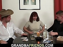 Hairy granny give black stockings takes double fuck