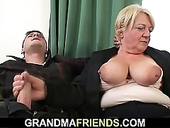 Barfly granny is picked up added to double fucked