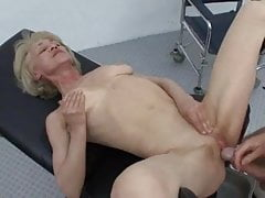 Granny Rita receives anal Rifleman & facial at one's fingertips doctors