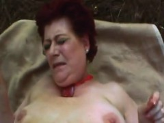 Redhead granny fucked hard upon open-air action
