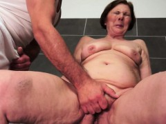 Hairy granny facialized chit alluring a shower