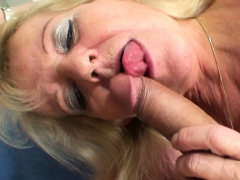 Old beauteous female parent almost white stockings rides his chunky cock