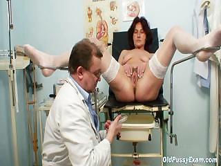 Hairy pussy grandma visits pervy unspecified doctor