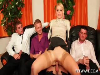 Gung-ho blonde fucking four penises
