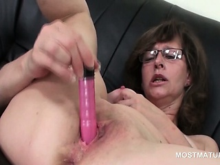 Turned on grown-up lassie masturbating far briefs and toys