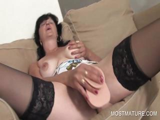 Dildo shafting with matured mollycoddle