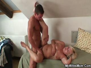 Horny granny seduces her son relative to operation