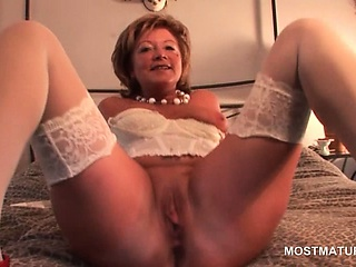 Grown up sweetie in the matter of stockings dildo and finger fucks themselves