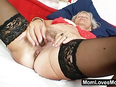 Gross grandma Cecilie toys her  hairy pussy