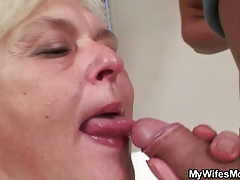 Orgy with horny grandma and her son in law