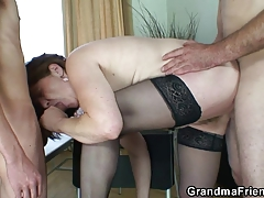 Dad and son-in-law bang elder bitch