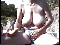 Hairy British Mature  Onanism in the boat