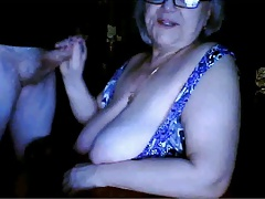 Russian grandmother flashing huge tits n sucking husband  webcam