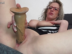 breasted German mutter frolicking with herself
