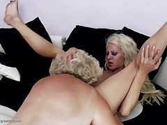 Kinky grandmother licks and pounds  girl