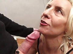 French mature Charlie pummeled in stockings