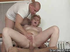 Delivery fellows share puny titted elderly lady