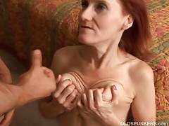 Skinny mature redhead enjoys to fuck and the taste of cum