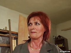 Red-haired granny likes anal