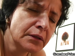 Old elder grandma in  swallows 2 fuck-sticks