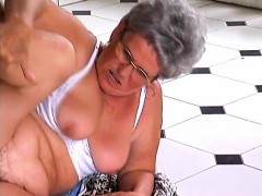Mature lady with glasses has a furry peach craving for some hard meat